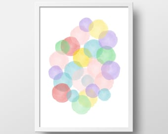 Pastel Abstract Art Print - Nursery Wall Art - Wall Decor - Baby Shower Gift - Girl's Room - Girl Wall Decor - Baby Gift - Cotton Candy Art