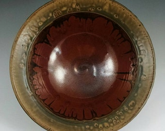 Honey Ash and Rust Red Serving Bowl