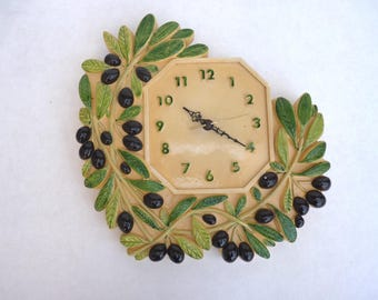 Ceramic wall clock from Vallauris, exclusive creation Ceciliam octagonal dial surrounded by olive branches. Dimensions 28cm x 30cm