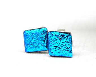 Super Intense Sky Blue Dichroic Glass Stud Earrings on 925 Sterling Silver Posts - Fused Glass Jewelry