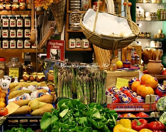 Italian Marketplace, Fine Art Photograph, Italian Kitchen, Home Decor, Italy, Farmers Market,Fruit, Green Vegetables, Europe,Travel,Florence