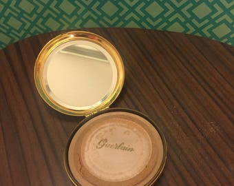 Puderdose, Guerlain,vintage, Puder, gold, Spiegel, Taschenspiegel
