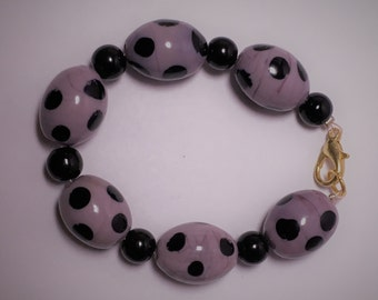 Lavendar and Black Spotted Glass Bead Bracelet