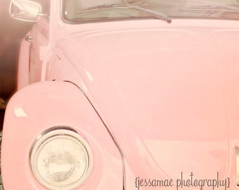 Pink Volkswagen Photography, Pink Vintage Car Art, Vintage VW Bug Print, Vintage Car Photography Print, Pink Car Print, Pink Car Wall Art