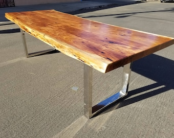 """Finely Handcrafted, 102""""L Live Edge Acacia Wood Dining/Conference Table"""