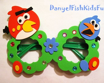 Back to school sale--Fun Angry Birds foam glasses craft DIY kit---Handmade foam glasses craft kits--Fun for Children---Party supplies