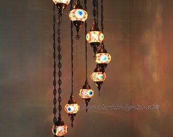 Turkish chandelier etsy 9 ball turkish mosaic chandelier multi color aloadofball Images