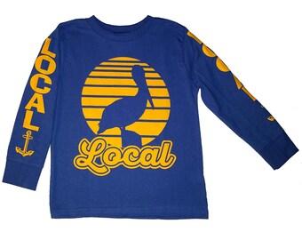 Toddler Kids Local Blue Pelican Sunset Long Sleeve T Shirt Anchor 3T  5-6T
