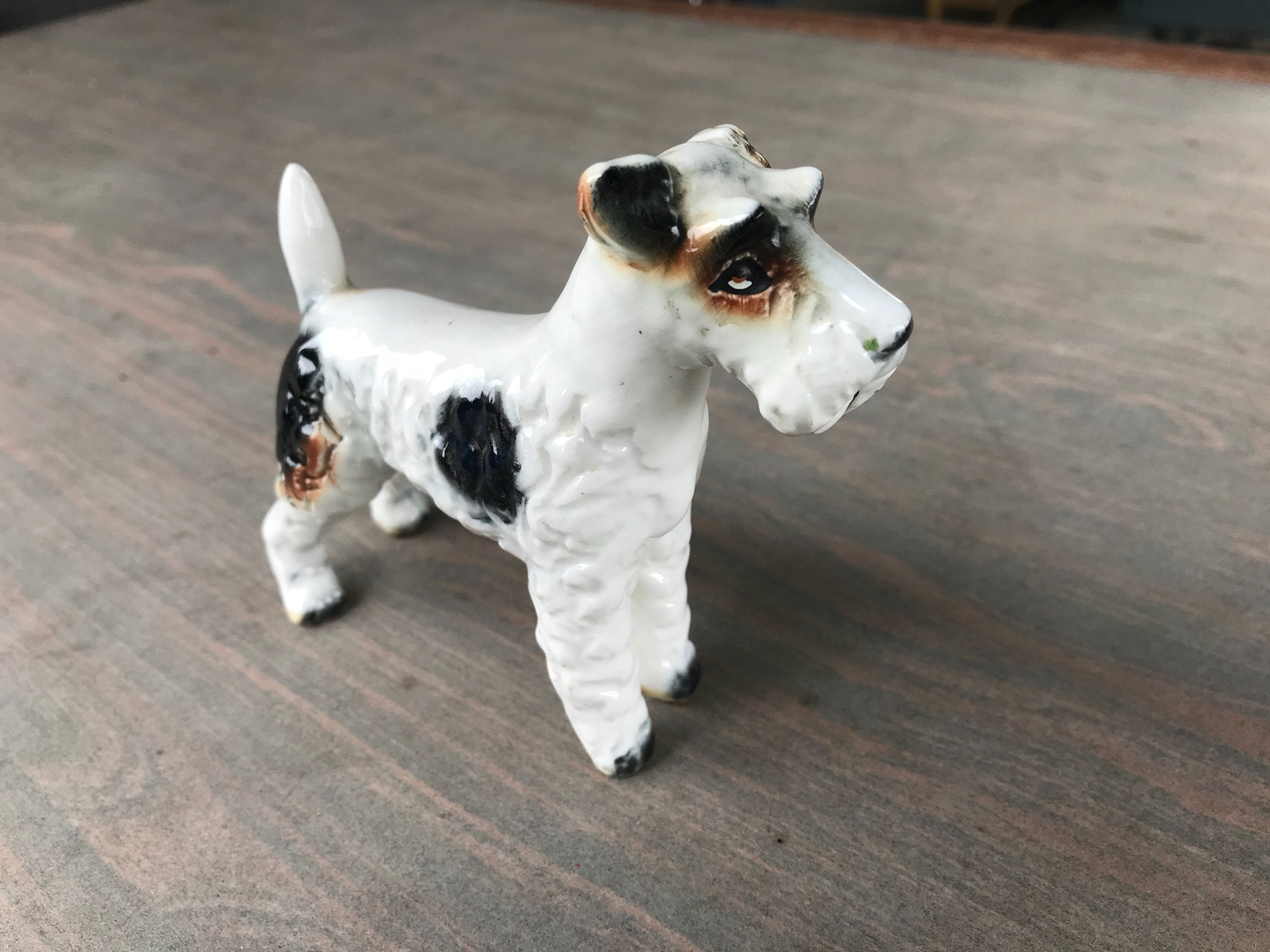 Vintage Wire Hair Fox Terrier Dog Figurine Small White brown