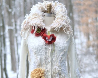 Custom Wedding sweater COAT for MC. Winter Wonderland fantasy white  Coat, boho OOAK eco couture outerwear, wearable art for Winter bride