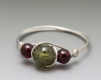 Grossular & Pyrope Garnet Sterling Silver Wire Wrapped Bead Ring - Made to Order, Ships Fast!