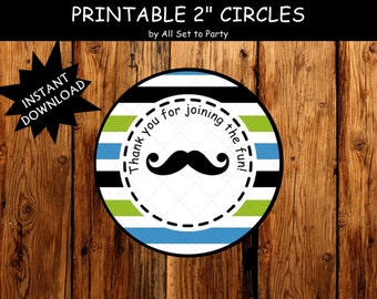 Little Man 1st Birthday Party Decorations, Mustache Bash Party, Bow Tie Birthday Party,Thank You Tags, Party Printables, Instant Download