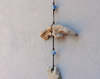Hag Stone Hanging Driftwood Holy Stone Swirl glass Wiccan Evil Protection Nautical Wall Hanging - Beach Home Decor