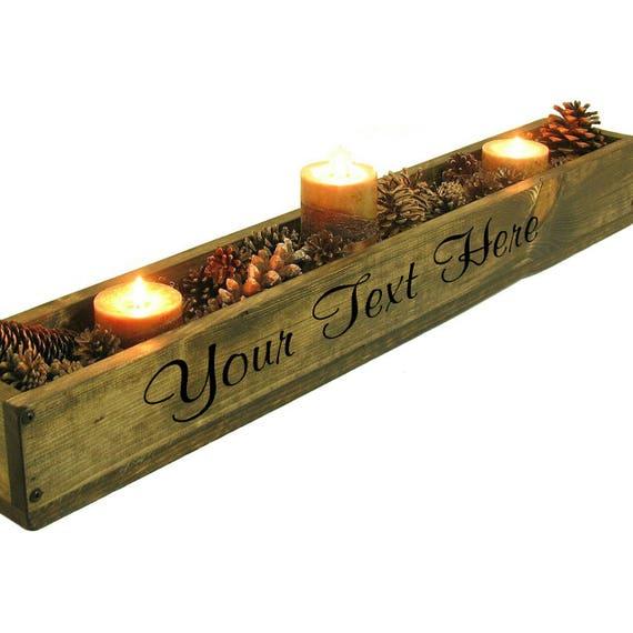 Long wooden trough wood box centerpiece mantle