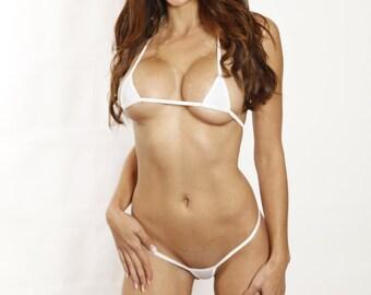 Bitsy's Bikinis Sparkly White Exotic Euro Style Extreme Micro Mini G String Bikini 2 Piece Swimwear Swimsuit