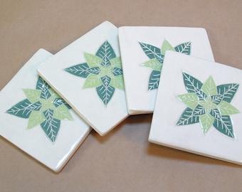 Tile Coaster set of 4,  pine &  lime green leaf/tile coasters /gift set