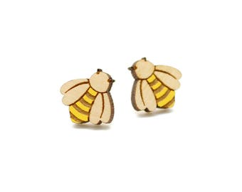 Bumble bee earrings ~ laser cut stud earrings