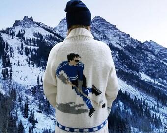 Vintage Hand Knit Sweater, Vintage Hockey Sweater, Vintage Cowichan Sweater, Vintage Athletic Sweater