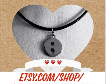 Stainless steel semi colon charm black leather cord necklace