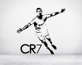 Footballer Cristiano Ronaldo CR7 Real Madrid Portugal Wall Sticker Decal Art. Any colour and a choice of sizes.(#137)
