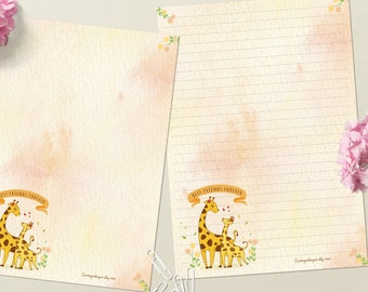 Gorgeous Giraffes - DOWNLOAD file - Printable Writing paper - A5 size