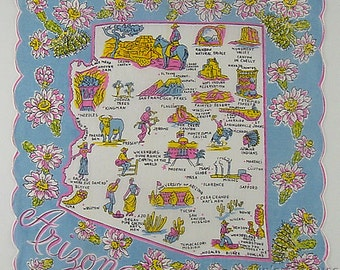 State Hanky for Arizona,Vintage State Souvenir Handkerchief,State Souvenir Hanky for Arizona (Inventory #M4511)