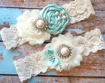 Aqua Wedding Garter / Bridal Garter / Lace Garter / Wedding Garter Set / Garter / Something Blue / Vintage Garter / Toss Garter