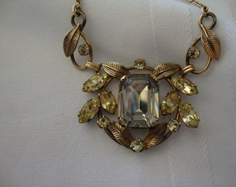 Vintage Van Dell Smokey Light Grey Yellow Necklace Signed