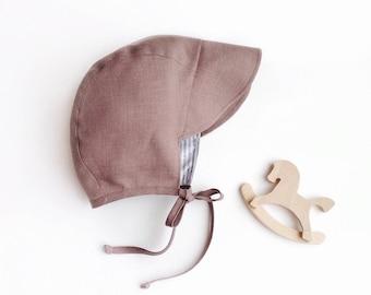 Mocco Linen/Cotton Strippy baby bonnet with brim