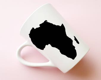 Africa Mug, Africa, Coffee Mugs, Tea Mugs, White and Black Mug, Vinyl Mug, Mug, Stay Woke, Mugs, African Mug, Black Girl Magic, 14 oz