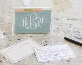 Acrylic Recipe Box, Recipe Box, Personalized Recipe Box, Monogrammed Recipe Box, Recipe Card Box, Recipe Storage Box, Bridal Shower Gift