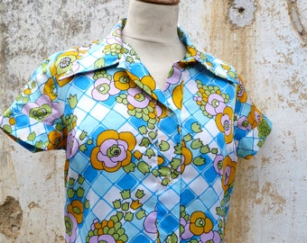 Vintage 1960 /60s French dress printed Psychedelic floral pattern  size S/M