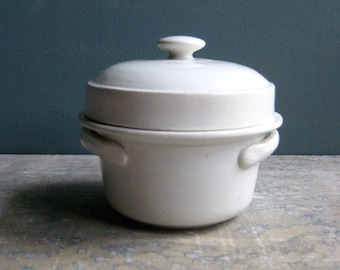 a small vintage French terre de fer pot, lidded pot, white, butter dish, paté dish, jam dish, breakfast tray
