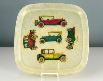 Mid Century Modern Fibreglass Serving Tray, Mod Fiber Glass Tid Bit Platter with Antique Cars Design, Fathers Day Gift, Drink Carrier Tray