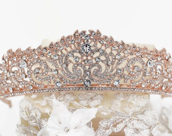 Crystal tiara, swarovski elements, Rose gold, silver, wedding crown, sweet 16, quinceanera, Bridal, prom, hair accessory, pageant headdress,