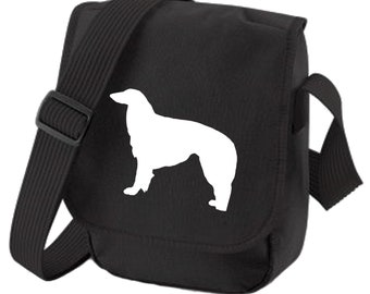 Borzoi Hound Bag Shoulder Bags for Dog Walkers Borzoi Silhouette Borzoi Dog Gift zipped pocket Choice of Colours