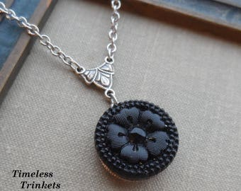 Vintage Button Necklace, Czech Glass, Flower Design, Black, Silver Ox, Antique Brass, Timeless Trinkets