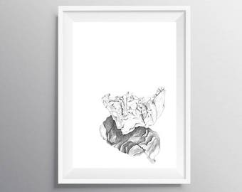 Contemporary modern poster, Nordic art print, Trending now, Minimalist modern poster, Grey poster, Graphite, PRINTABLE pencil drawing art
