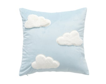 Pastel Blue Plush Pillow - Clouds, Angel Pig, Angel Wings. Super soft pillows baby shower gift newborn gift for girls gift for baby boy