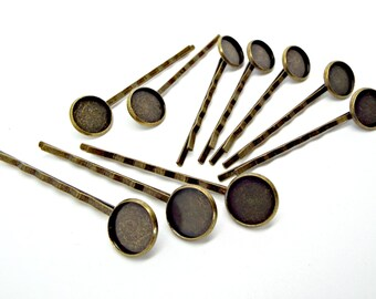 10 Bronze Hair Clips, Cabochon Bobby Pins, Hair Accessories, Iron Bobby Pins, 12mm Setting, Cabochon Hair Clips, 61mm Bobby Pin, UK Seller