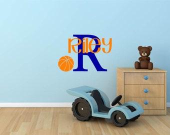 Custom Name & Monogram with Basketball Vinyl Decal Set - Sports Vinyl Wall Decal, Bedroom Decor, Basketball Vinyl, Basketball Art, 25.5x17.5