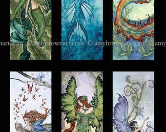fairy and mermaid bookmark SET by Amy Brown