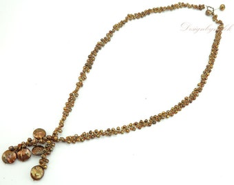 Brown freshwater pearl on silk long necklace.
