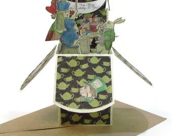 Alice in Wonderland Unbirthday Pop Up Card Invitation Party Decoration Lewis Carroll Mad Hatter Tea Party Queen of Hearts Bibliophile Gift