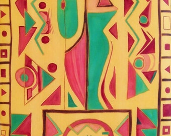 """INCA"" decorative sign on painted silk painting."