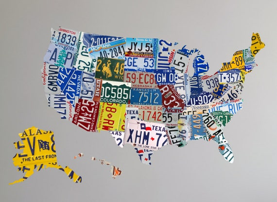 Map Wall Decal US License Plate Map US Map Wall Decal