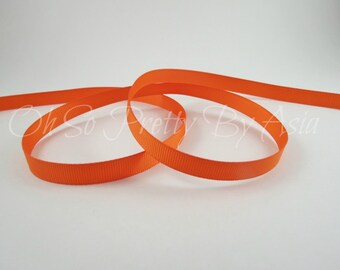 """Orange Ribbon - Grosgrain - You Choose Length and Width - 3/8"""", 7/8"""" or 1 1/2"""" -  Bow, Scrapbooking, Sewing, Art Craft Supplies"""