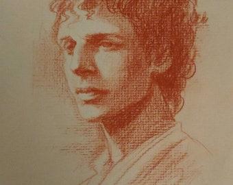 Pietro Annigioni Portrait of a boy original antique drawing