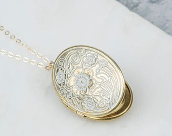 Oval Flower Locket Necklaces, White Locket Floral Necklace, Long Necklace Locket With Floral Design, Pendent with Aqua Blue or White Accent