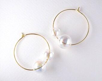 GEMELLO dichoric - Rainbow coated Dichoric glass bubble earrings